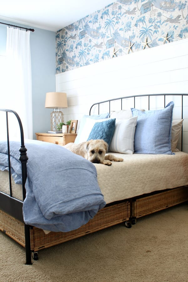 Our coastal cottage master bedroom is a mixture of cozy and casual...even Kona loves it!
