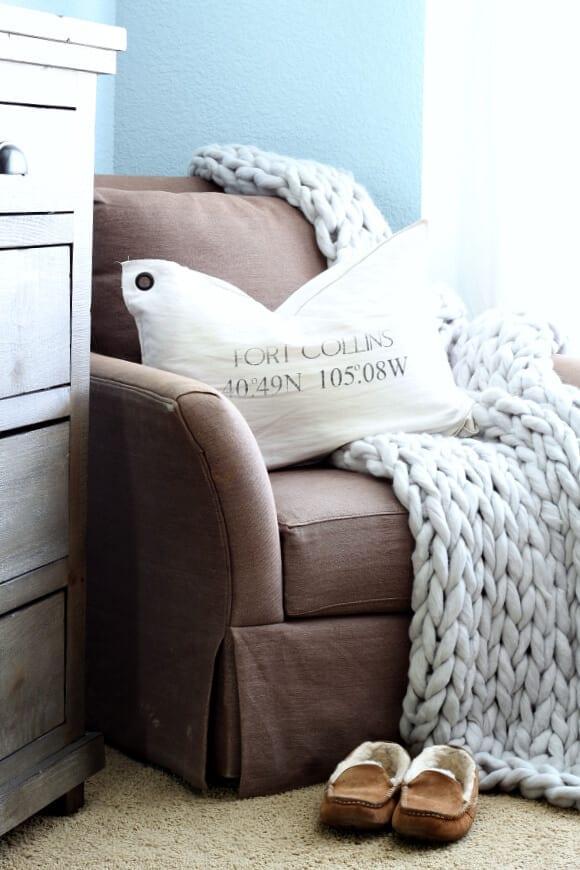 A cozy corner in our coastal cottage bedroom.
