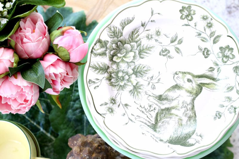 Bunny plates, peonies and pops of yellow for a Spring vignette.