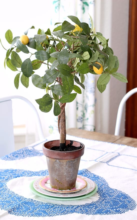 A lemon topiary for a Spring table.