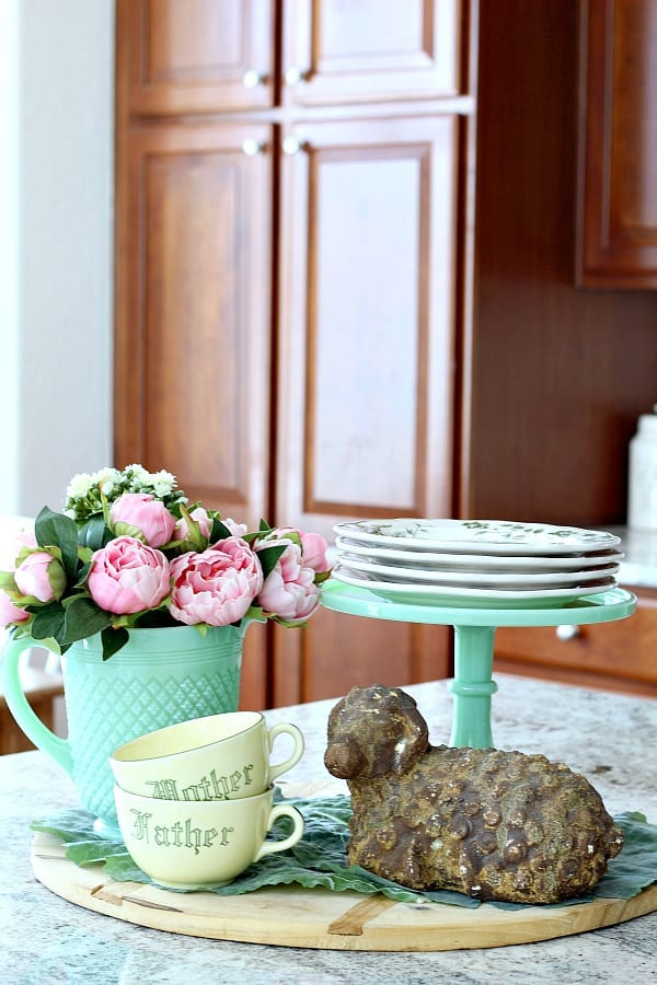 A Spring kitchen vignette with pinks and greens with a cottage feel.