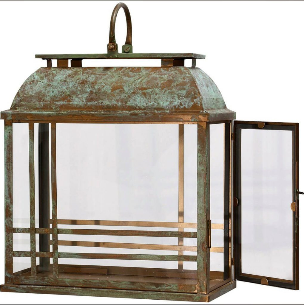 Gorgeous copper lantern with patina!