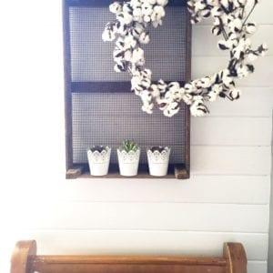 Cotton wreath pew shiplap