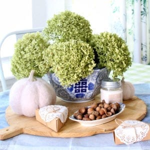 Dried hydrangea centerpiece for easy Fall kitchen decor.