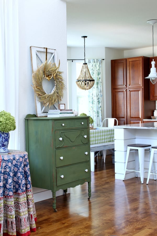 This green dresser is fun to decorate for each new season.