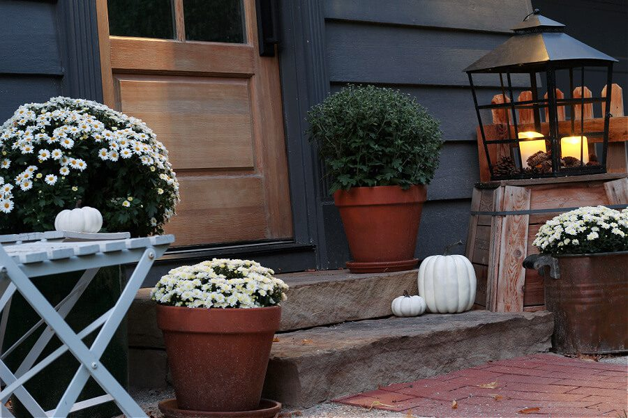 Extending the area around your steps allow for additional Fall decorating space.