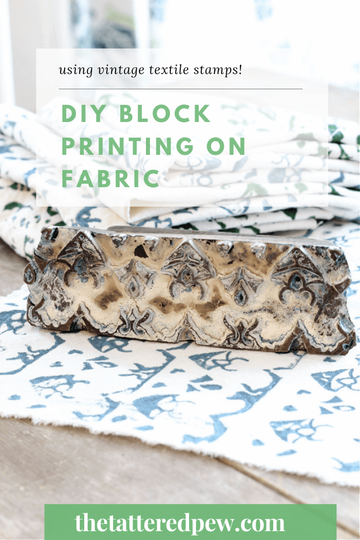 DIY block printing on fabric with vintage textile stamps