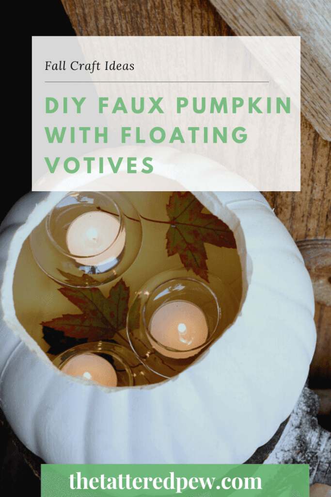 Looking for an easy and inexpensive Fall craft? Try this diy faux pumpkin with floating votives.
