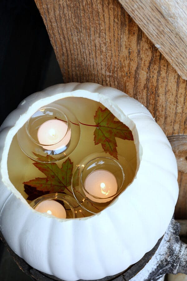 Thrifty and SImple DIY faux pumpkin with floating votives
