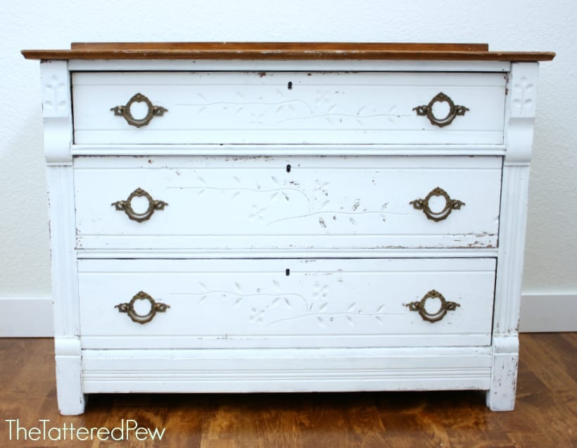 Old dresser makeover using milk paint.