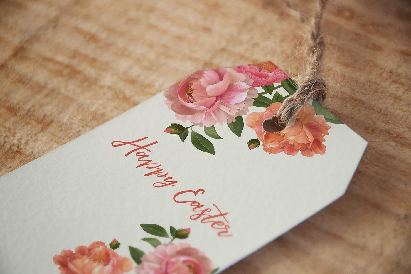 Floral gift tag-peonies
