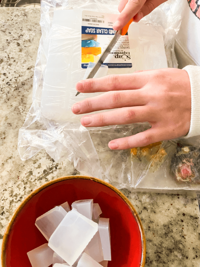 Preparing the glycerin to make homemade soaps for Christmas gifts.