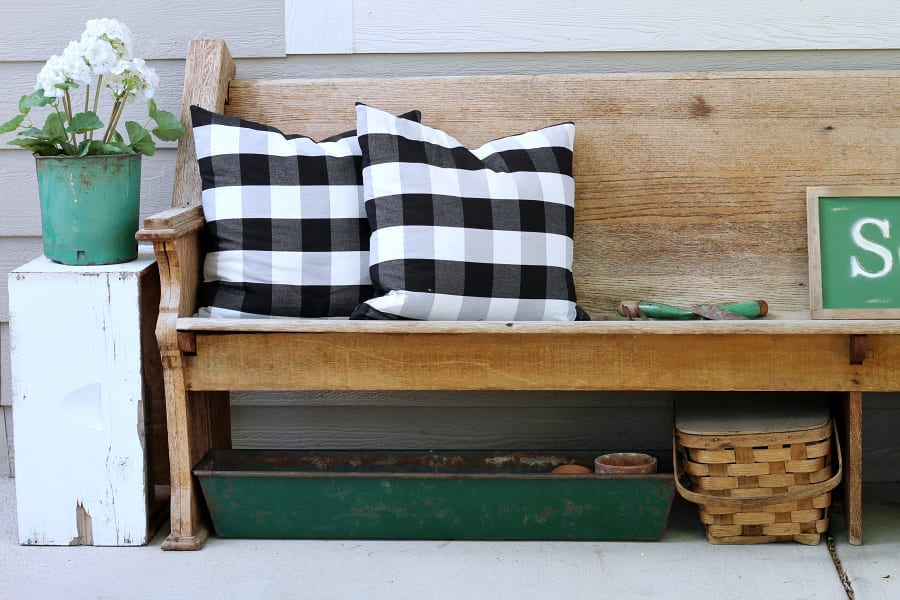 Finding accessories in similar color schemes make decorating your porch easy.