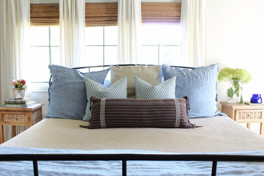 blue and brown pillows in our Fall bedroom.