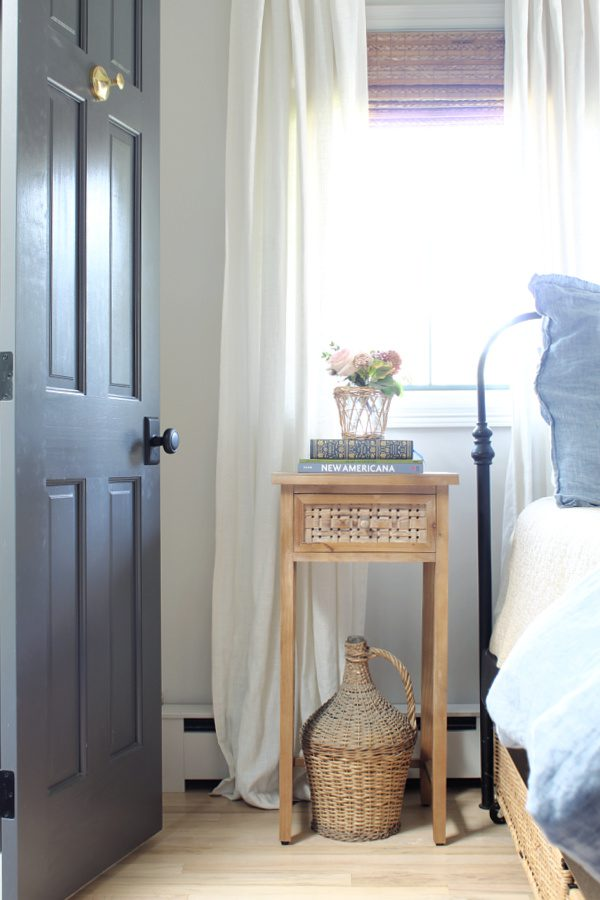 Bedside table with flowers