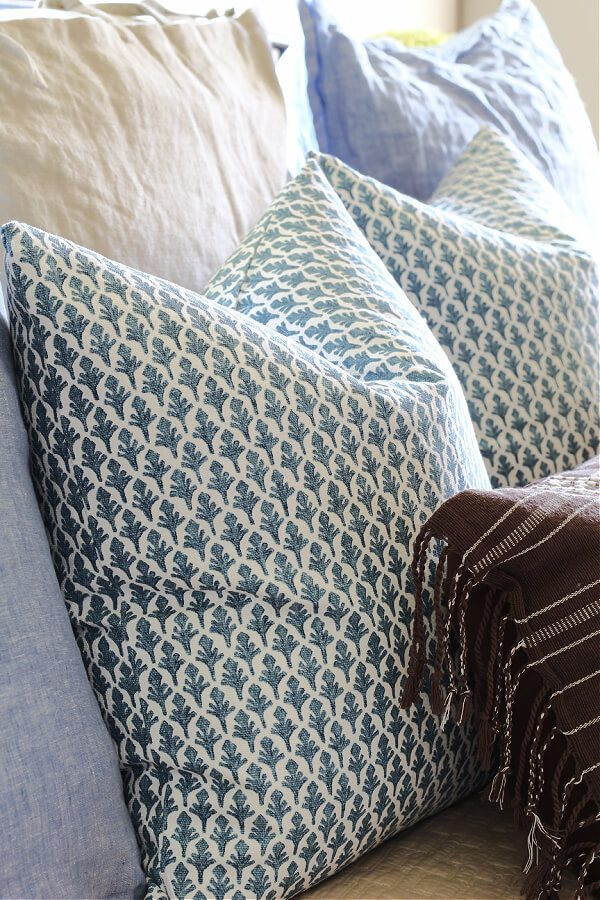 Blue and white patterned pillows from Linen and Oak.
