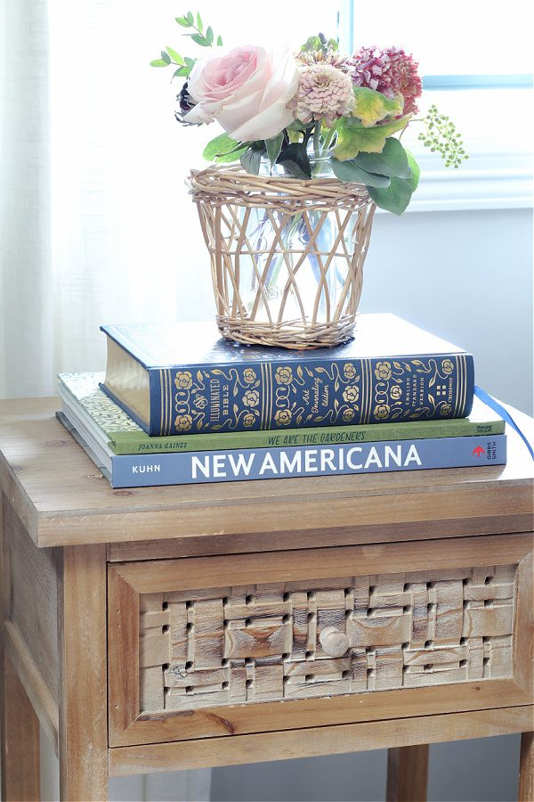 Our bedside tables in our new home and master bedroom.