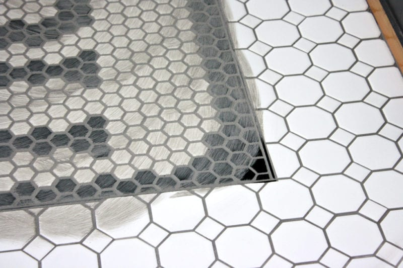 Entryway makeover using Jeffrey Court tile.