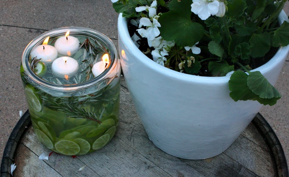 Essential oil citronella candles are perfect a perfect and frugal backyard DIY.