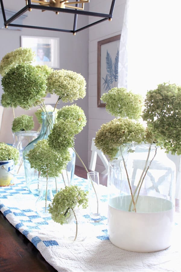 Dried hydrangeas and glass jars are the perfect combo for Spring