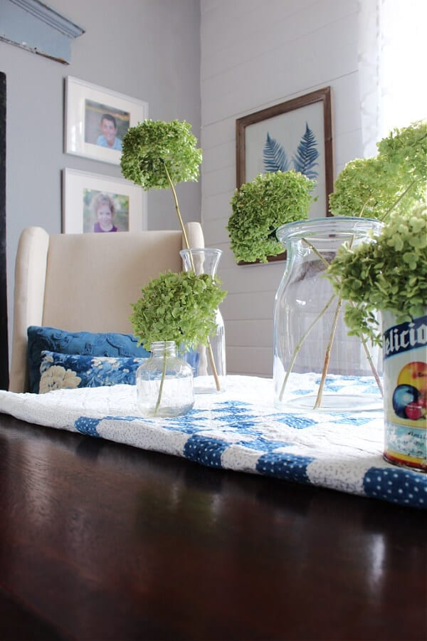 A flea market style Spring centerpiece on our ding table.