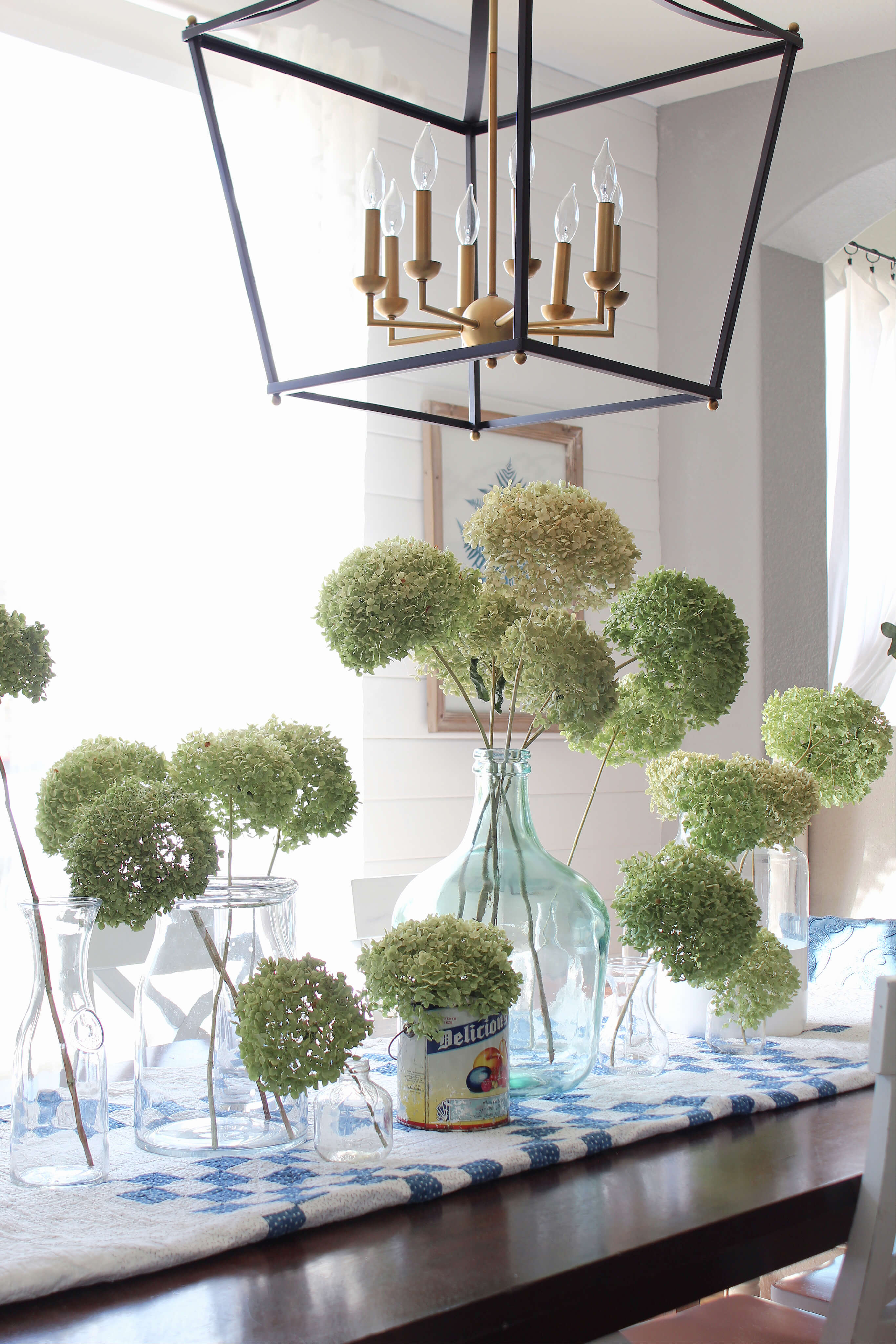 A Spring centerpiece of dried hydrangeas just perfect for Spring!