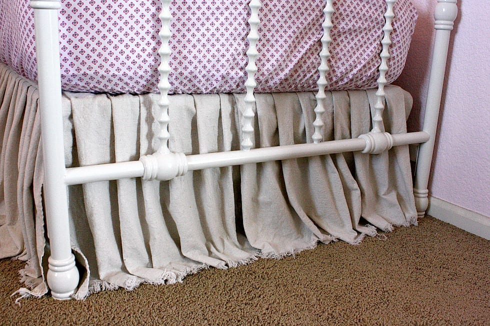 Drop Cloth Bed Skirt.Easy No Sew Drop Cloth Bed Skirt The Tattered Pew