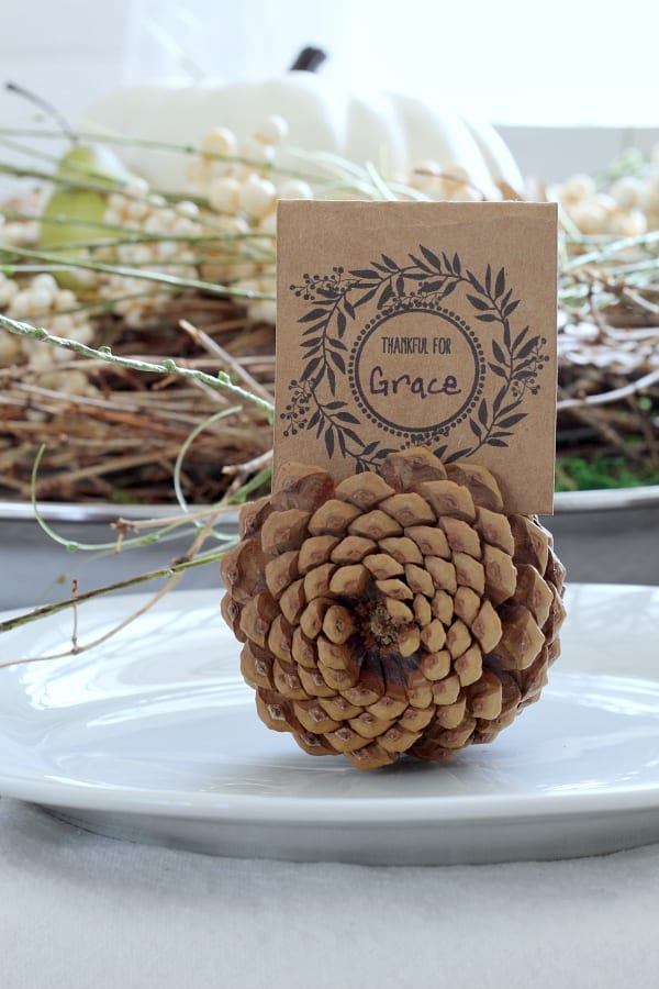 These Thanksgiving place cards are a FREE printable that you can use in minutes to add that special touch to your table.