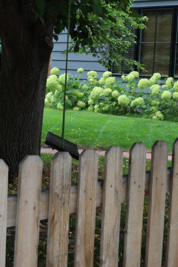 picket fence, hydrangeas and a wooden swing in our front yard