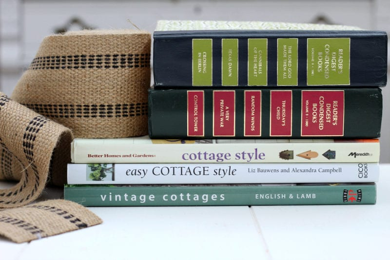Jute webbing and pretty books used for a fun and easy DIY book garland.