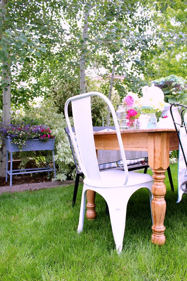 Don't be afraid to bring the inside out for your garden tea party.