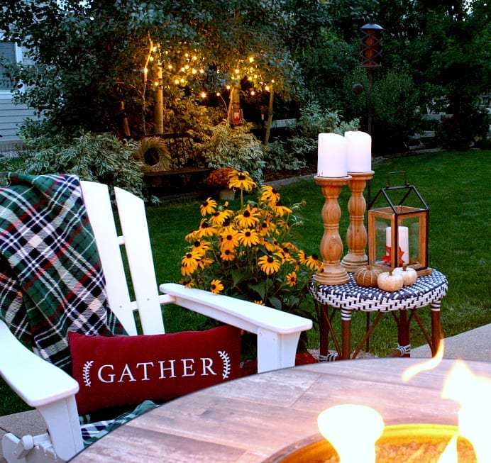 Gather pillow in our Fall outdoor space.