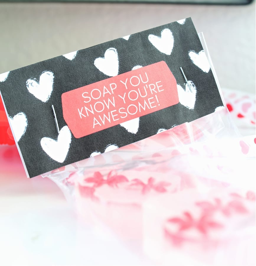 Soap You Know You're Awesome Valentine bags of heart shaped soap!