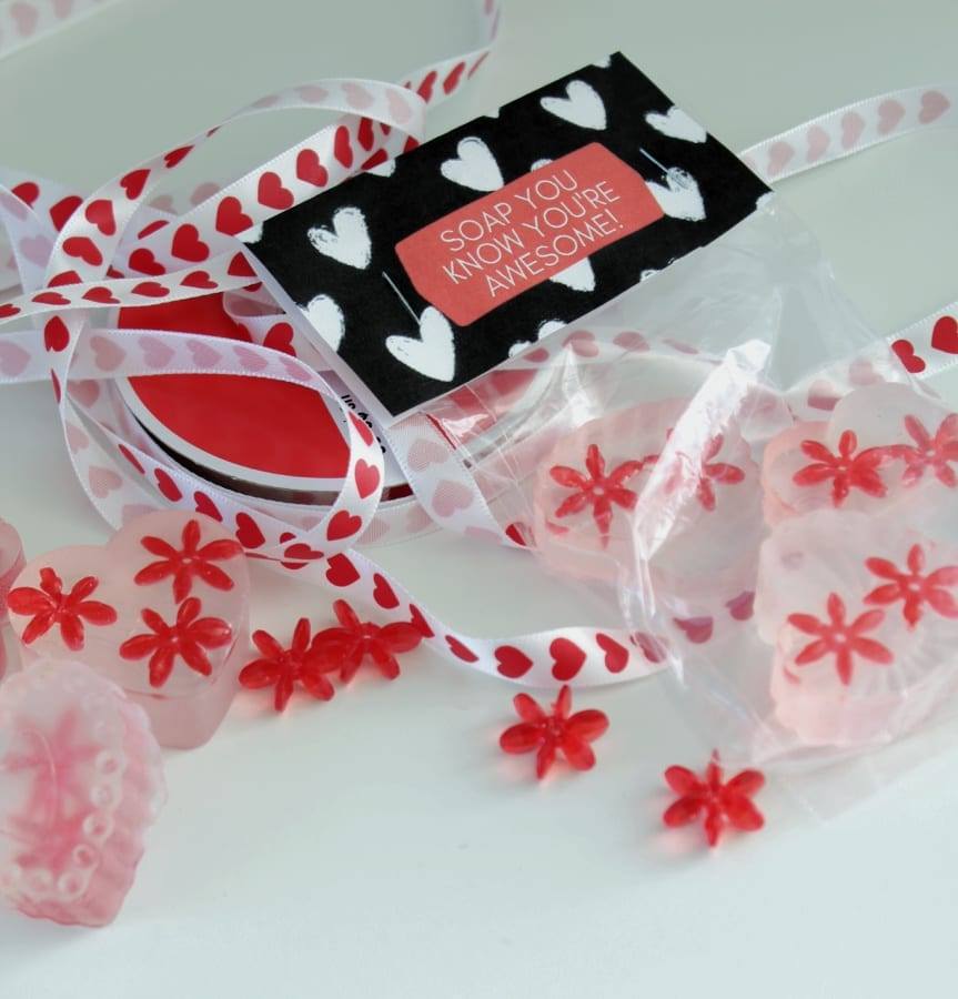 Grab your free printable for these darling heart shaped soaps!