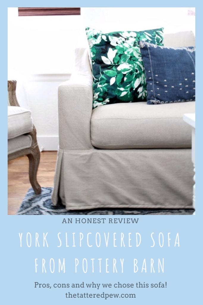 """An honest review of our York Slope Arm Slipcovered Deep Seat Grand Sofa 95"""" with a bench cushion and down blend wrapped cushions"""