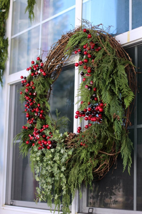 How to make a large outdoor Christmas wreath and have fun doing it!