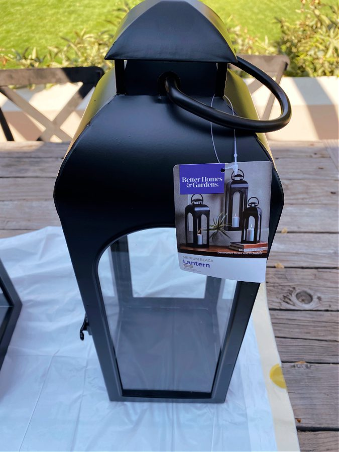 Better Homes and Gardens black outdoor lantern.
