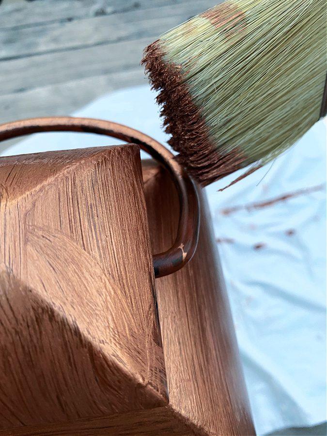 One coat of oxidizing copper paint.