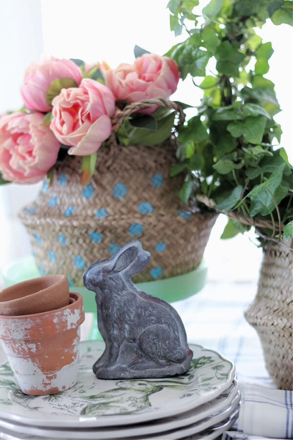 A Spring vignette with sea grass baskets.