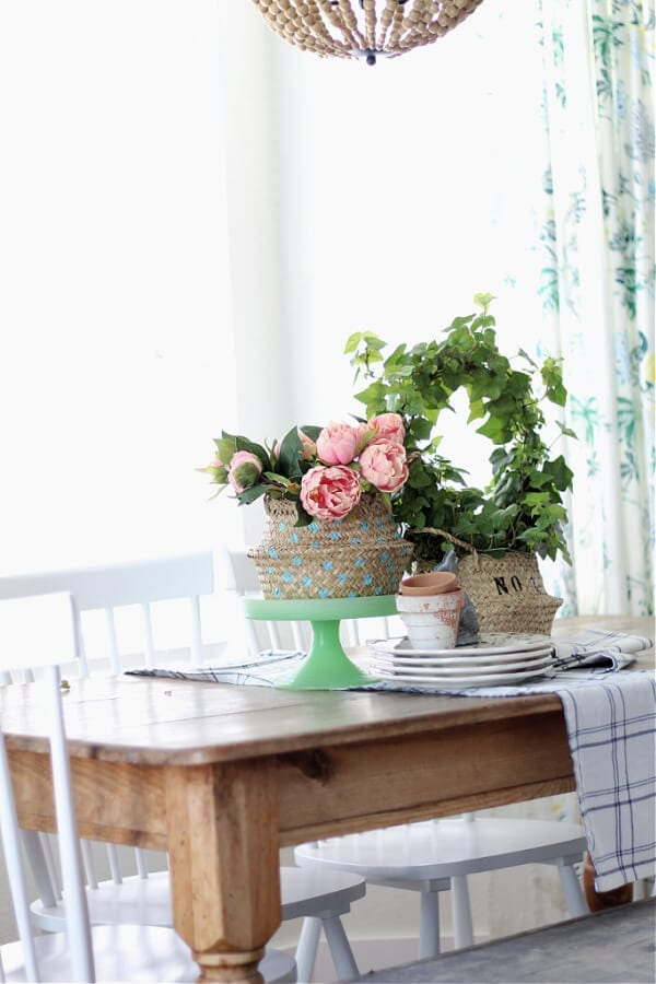 stenciled sea grass baskets make the perfect Spring vignette on our kitchen table.