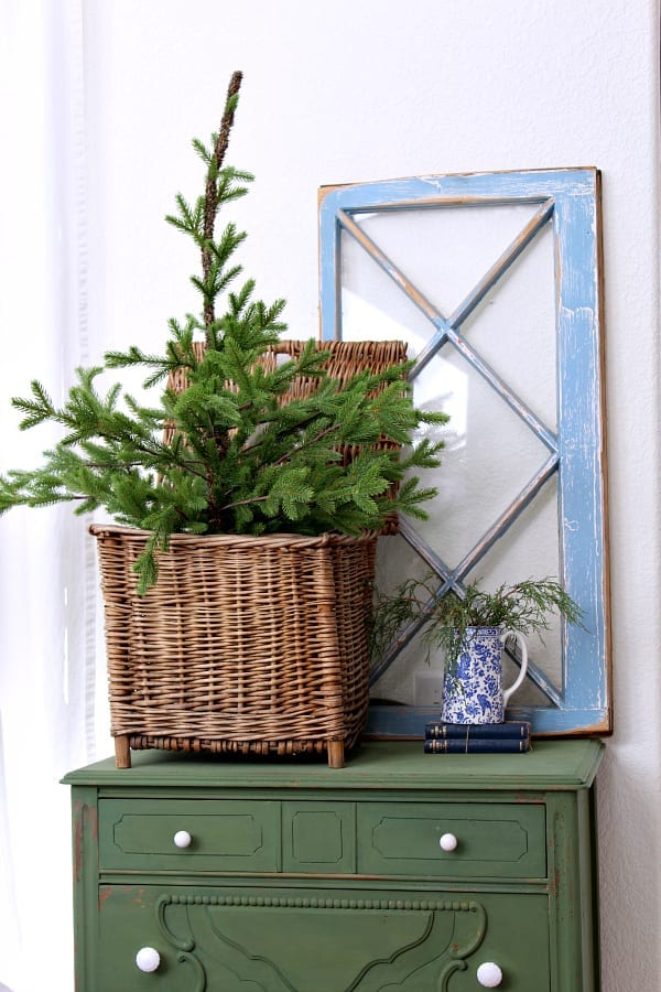 Winter trees and greens are the perfect touch for a cozy transiton from Christmas to winter decor.