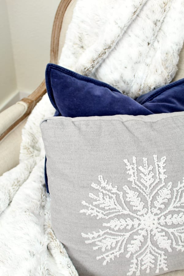 Cozy pillows are the perfect transition from Christmas to winter decor.