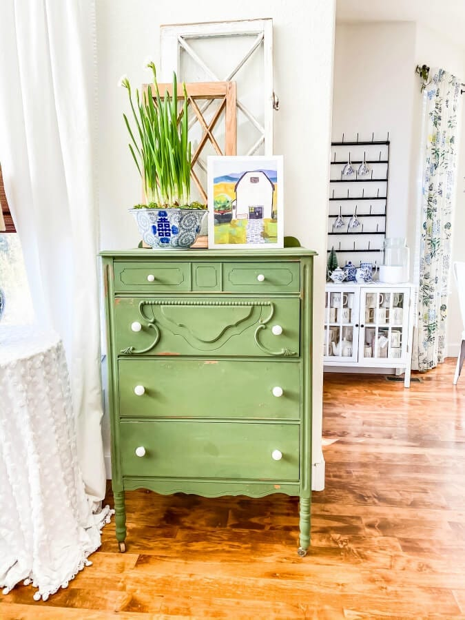 An old dresser painted Boxwood green in MMS milk paint is ready for Spring!