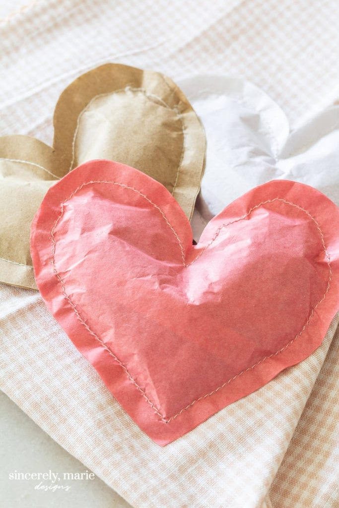 Welcome Home Sunday: Stitched paper Heart Treat Bags