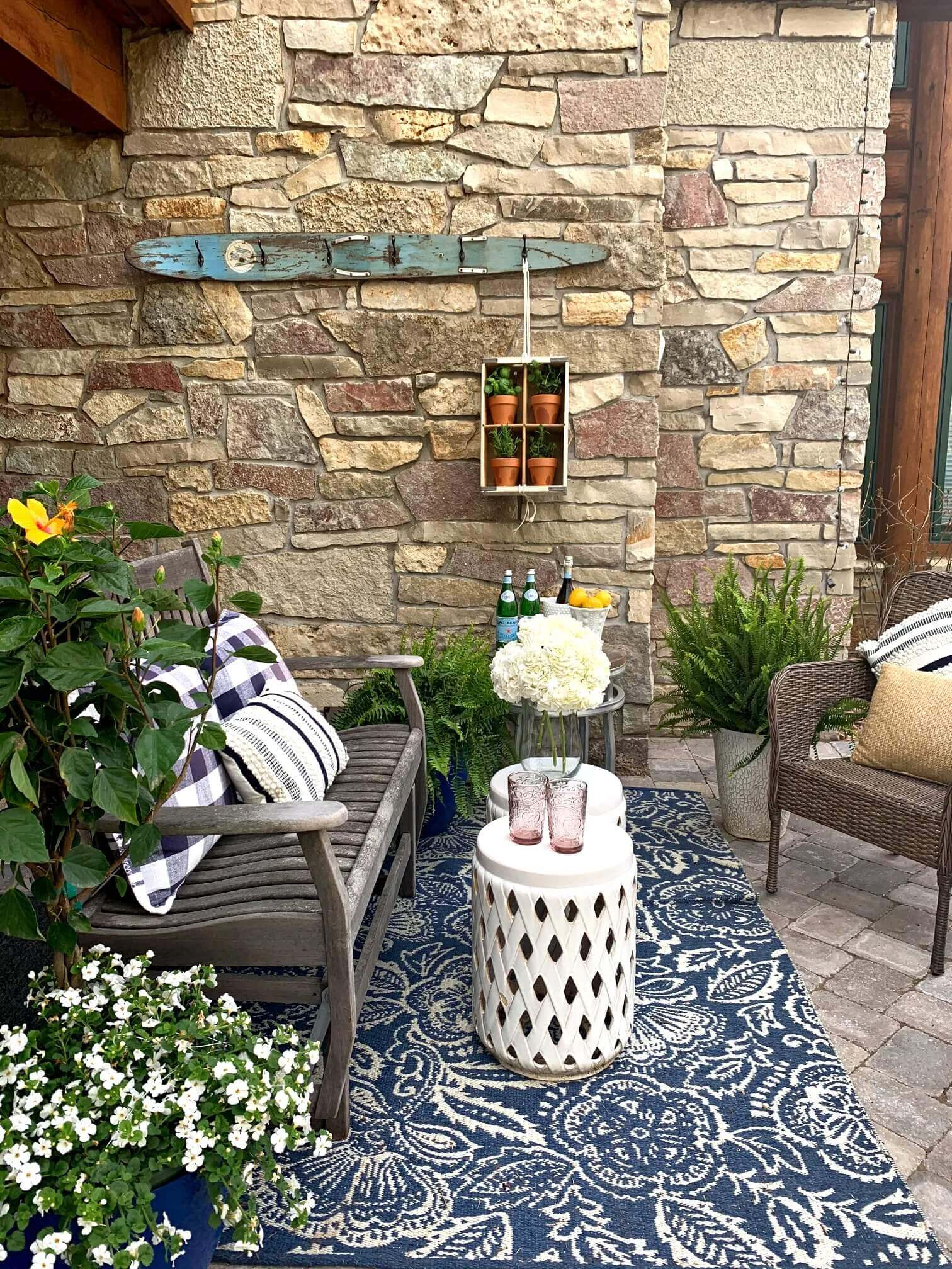 Welcome Home Saturday: Summer Porch Decor in Blue and White