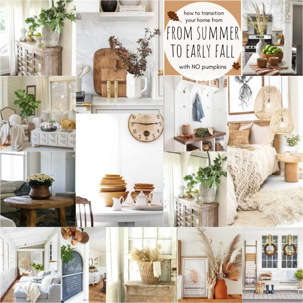 Welcome Home Saturday: Transitioning from Summer to early Fall | Welcome Home Saturday by popular Alabama lifestyle blog, She Gave It A Go: collage image of summer to early fall decor.
