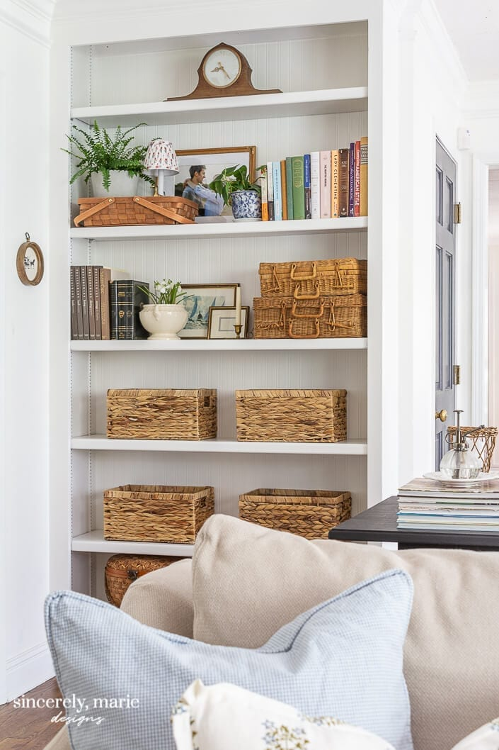 Welcome Home Sunday: Our bookshelf with beadboard wallpaper
