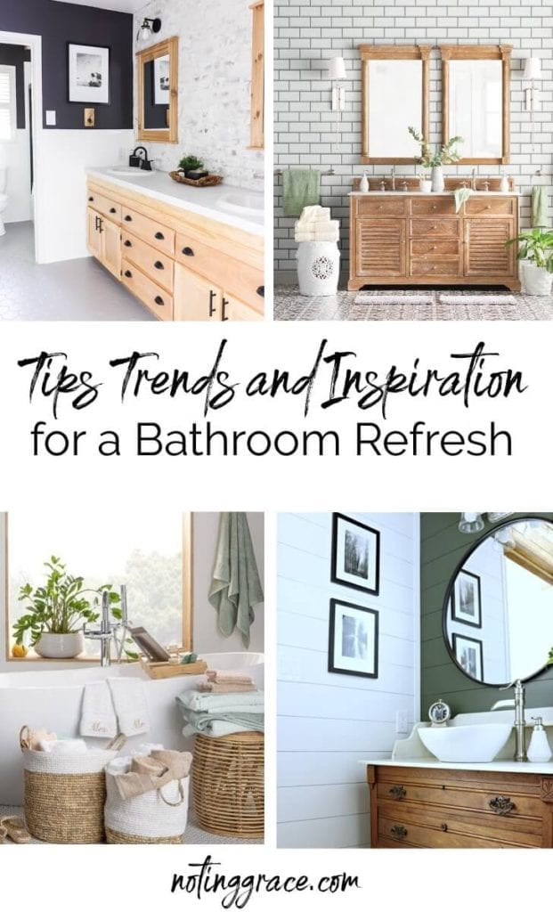 July 4th Edition Of Welcome Home Saturday by top AL home blogger, She Gave It A Go | Welcome Home Saturday by popular Alabama lifestyle blog, She Gave It A Go:  Pinterest image of farmhouse bathrooms.