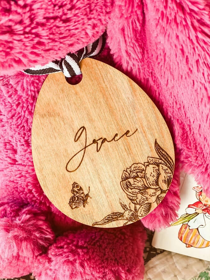THis lazer cute personalized Easter basket tag is a beautiful addition to any Easter decor.