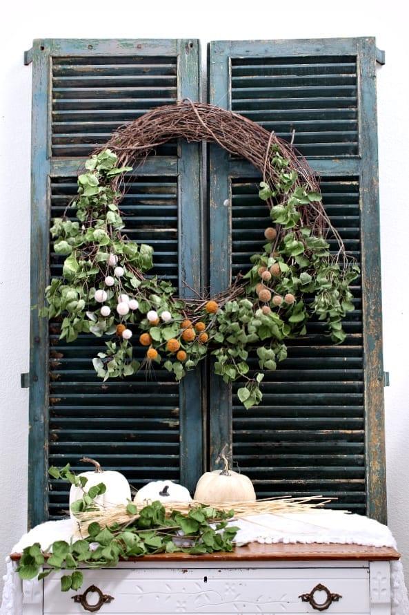 Large DIY Fall Farmhouse Wreath